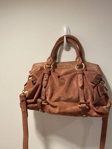 Miu Miu Bow Handbag Pink Suede