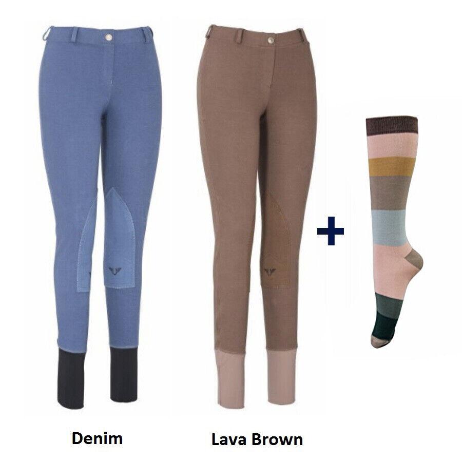 TuffRider Womannen Starter Laagrise Trek op Breeches met GRATIS Socks --Pack of Two