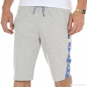 Men-039-s-Kappa-Shorts-Slim-Fit-Bottoms-Joggers-Retro-Sports-Football-Grey-Summer