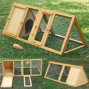 Wooden outdoor triangle rabbit bunny hutch and run guinea for Outdoor guinea pig cage