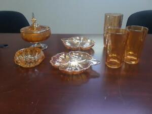 VINTAGE ORANGE IRIDESCENT CARNIVAL GLASS - 8 pieces