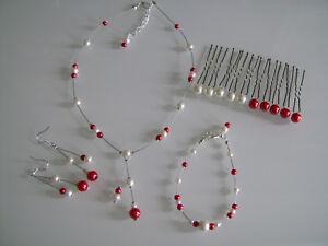 bb9a5b53c Détails sur Parure Blanc cassé/Rouge Collier bracelet  Mariage/Mariée/Cérémonie robe pas cher