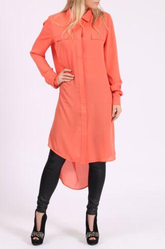 Womens Ladies Smart Summer Longline Chiffon Long Sleeved Shirt Dress MS-1009