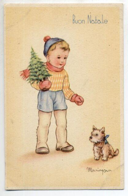 MARIAPIA Bambino con Albererello Cagnolino PC circa 1940 ITALY