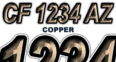 COPPER Custom Boat Registration Numbers Decals Vinyl