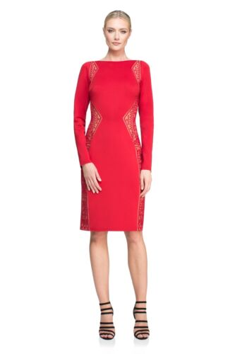 $328 Tadashi Shoji Edie Red Rock Nude Neoprene Embroidered Lace panel Dress
