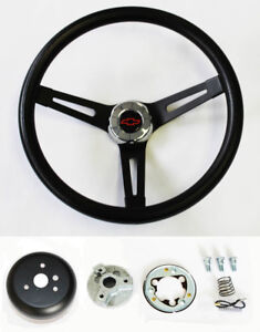 13-1-2-034-Black-on-Black-Steering-Wheel-fits-Ididit-Column-Red-Black-Bowtie-Cap