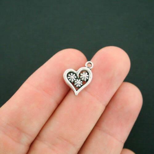 10 Daisy Heart Charms Antique Silver Tone SC6671