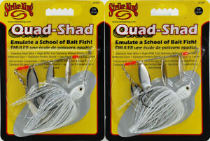 (LOT OF 2) STRIKE KING QUAD-SHAD SPINNERBAIT 3/8OZ GCQST38WW-12 WHITE M4512