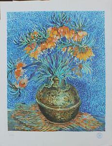 Vincent-Van-Gogh-034-Crown-Imperial-Fritillaries-in-a-Copper-Vase-034-color-lithograph
