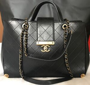 3b4a785443 Image is loading AUTHENTIC-CHANEL-BLACK-SMOOTH-LEATHER-TOTE-BAG