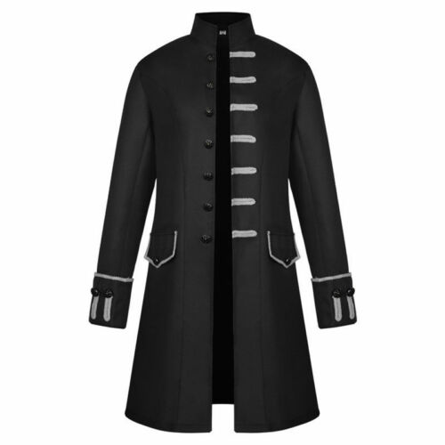 Herren Einreihig Lange Jacke Blazer Gothic Steampunk Vintage Mittelalter Kostüm