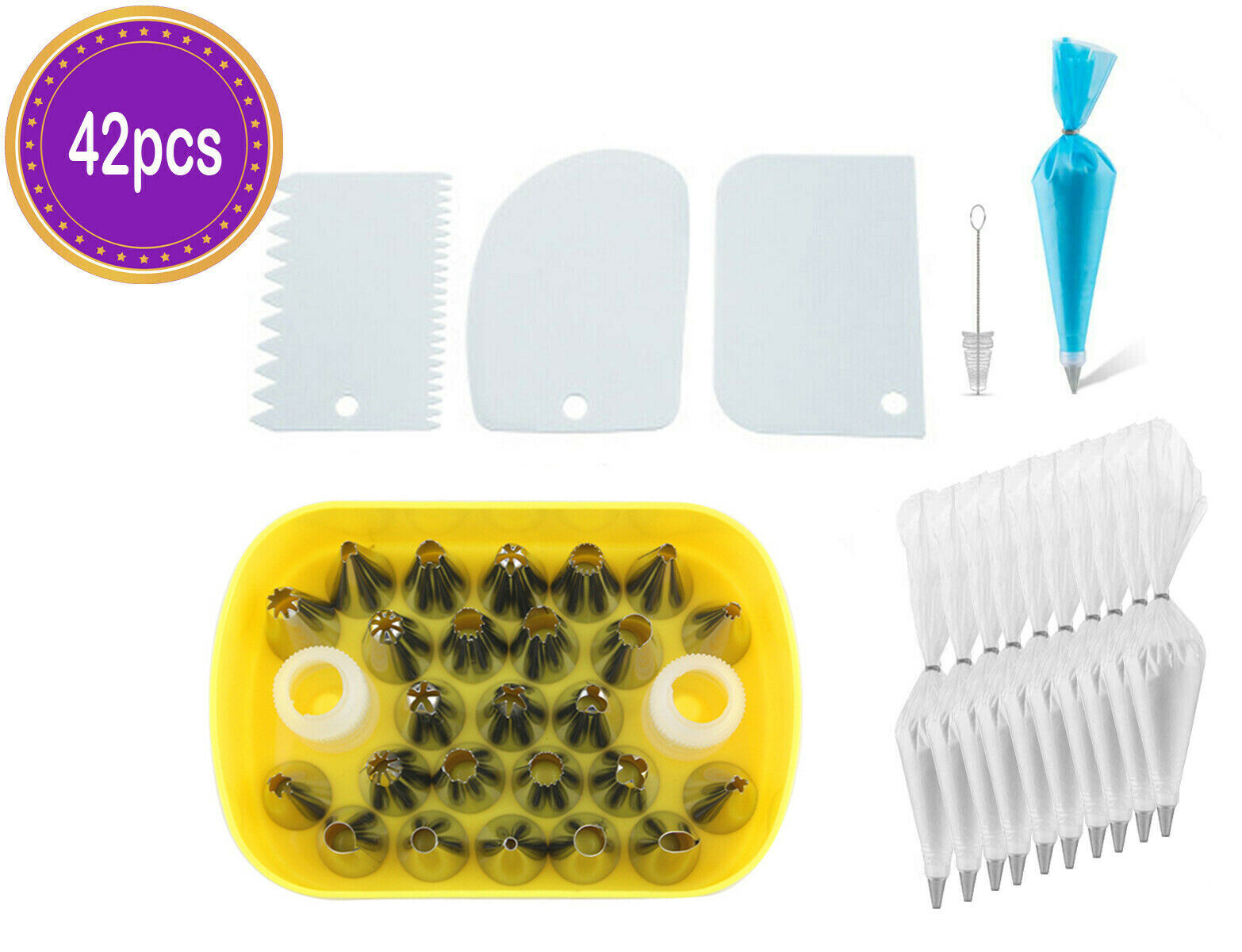 56 pcs Icing Nozzle Tubes Set include 1 Pastry Reusable Bag Baking Accessories