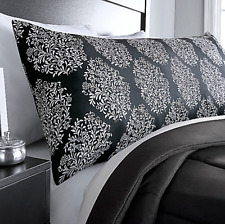 NWT~ Dramatic Black /& White Damask Medallion Microfiber Zip Body Pillow Cover