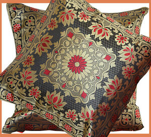 Set-of-two-silk-brocade-pillow-cover-flower-motif-black-red-gold-from-India