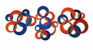 3 Piece Colorful Blue Orange Circle Wall Art Sculptures By Art69 Ebay