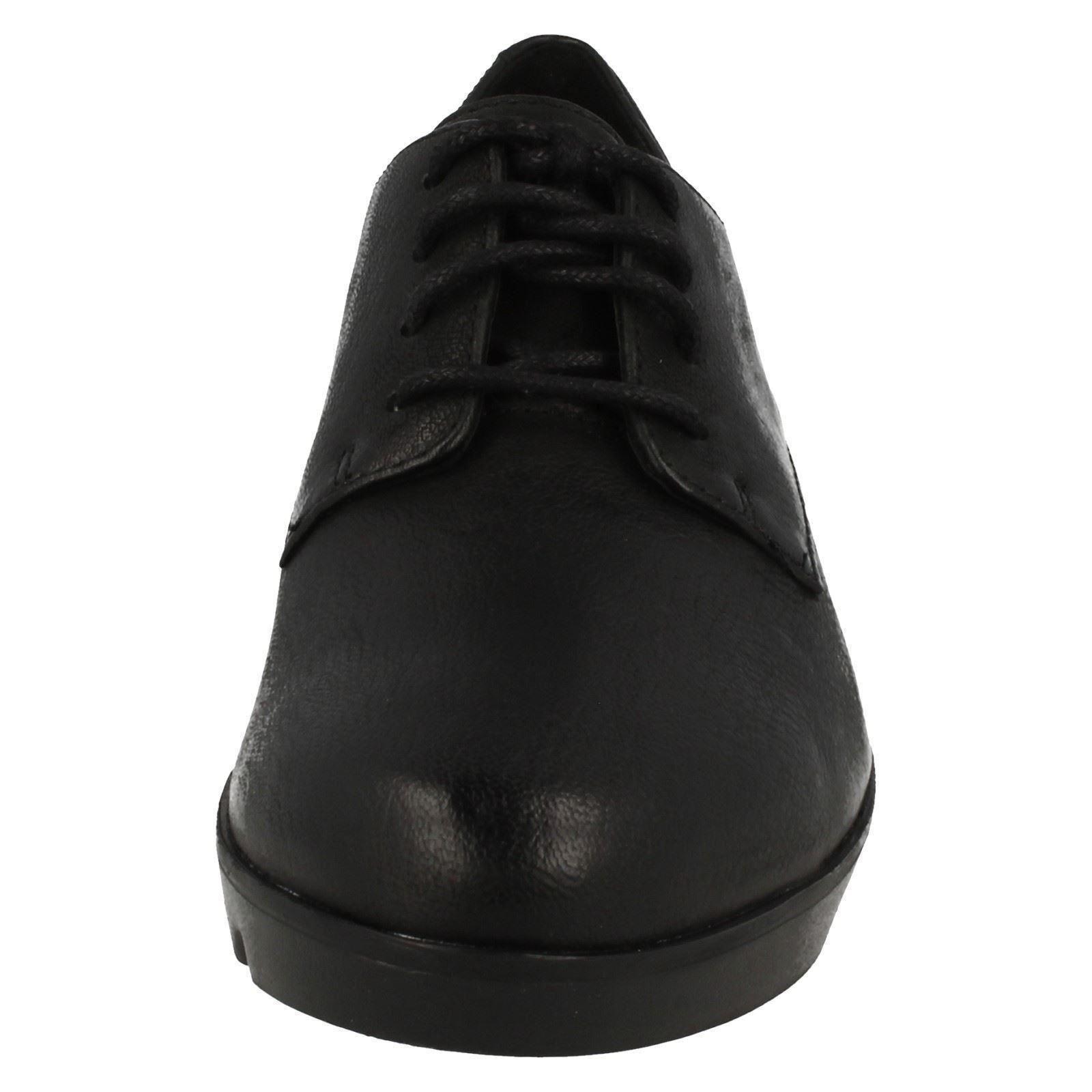 Clarks' Evie FIOCCO' lacci donna in pelle nera con lacci FIOCCO' 3CM ZEPPA CON TACCHI scarpe 52984d