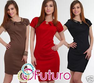 Bodycon Fc2778 Tunic black Necklace Cappuccino With Sizes Mini Short 12 Ladies Sleeve Neck 8 Crew red 57qaHxnA6