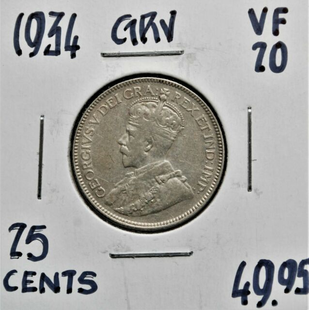 1934 Canada 25 cents VF-20