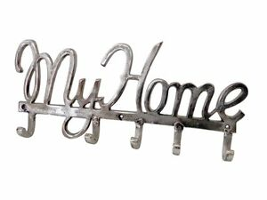 Heavy-Duty-5-Hook-Coat-Clothing-hanger-Forged-Nickel-Vintage-Silver-MY-HOME