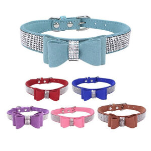 SUEDE-LEATHER-RHINESTONE-DIAMANTE-DOG-COLLAR-BOW-TIE-PUPPY-SMALL-PET-STRICT