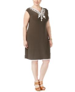 Details about Alfani Plus Size Soutache-Trim Knit Dress in Urban Olive  Green, 0X Retail $99.50