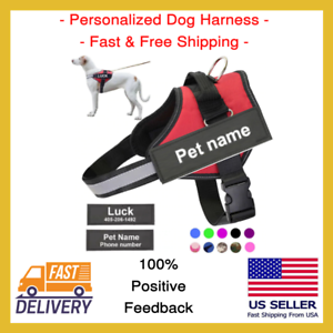 Personalized-Service-Easy-Dog-Harness-Adjustable-No-Pull-Handle-Outdoor-Name-New