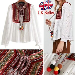 Image is loading UK-Womens-Retro-Embroidered-Hollow-Coats-Cardigan-Tops-