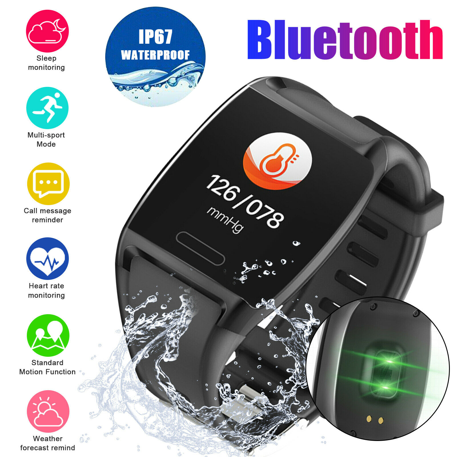 Smart Watch Heart Rate Blood Pressure Monitor Fitness Tracker For iPhone Samsung blood Featured fitness for heart monitor pressure rate smart tracker watch