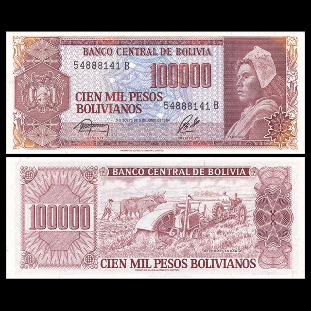 Bolivia 100000 Pesos Bolivianos Banknote, 1984, P-171, UNC, America Paper Money