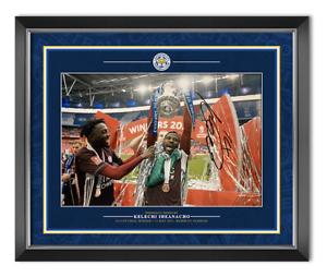 Kelechi Iheanacho Signed 12X8 & Framed Photo Leicester City FA CUP AFTAL COA