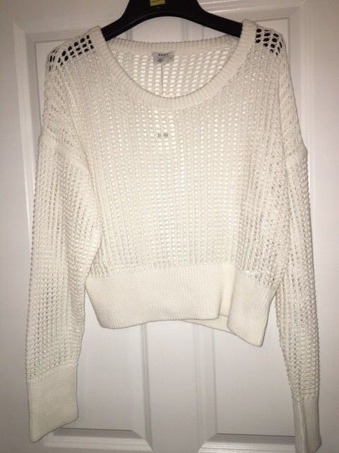 DKNY White Knitted Jumper Top XL NEW RRP