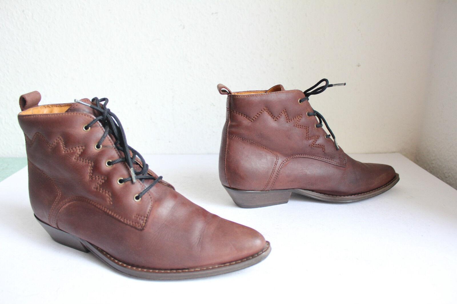Vintage Élégant Style Western bottes schnürbottesetten Véritable Cuir marron eu 39