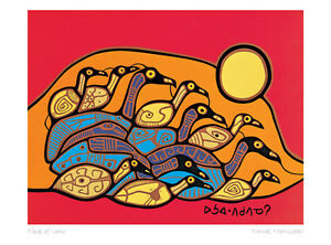 Flock-of-Loons-Norval-Morrisseau-Art-Card-Ojibway-Native