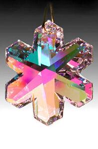 Swarovski-Snowflake-Austrian-Crystal-8811-35mm-Rose-Pink-AB-Prism-w-Logo