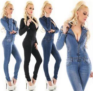 Manga-larga-jeans-overall-pantalones-Jumpsuit-tubo-Skinny-elasticos-Denim-onesie-S-M-L