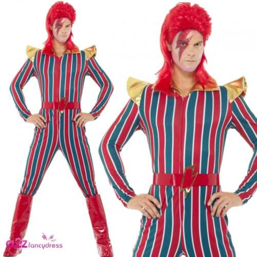 Space Superstar Bowie 70s 80s Retro Adult Mens Womens Fancy Dress Costume