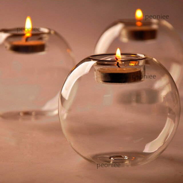 round hollow glass candle holder wedding fine candlestick dining home decor