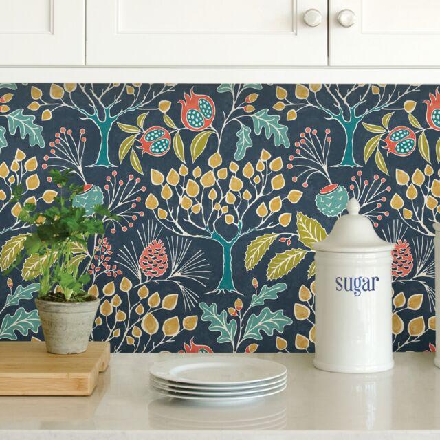 Wallpaper NuWallpaper NU3039 Groovy Garden Grey Peel & Stick Multicolor Wallpaper,