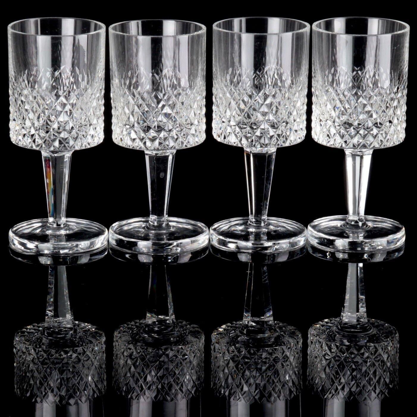 4 Weingläser 13,5 cm Barthmann DGoldtheenhütte Diamant Bleikristall Waffel 60er