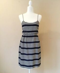 ff2cce57c77 J.crew Womens Blouson Dress In Striped Silk Navy Casual Summer Size ...