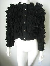 Asprey London Black Lamb Leather Tiered Ruffle Jacket 42 Rare!