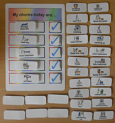 MY CHORES TODAY ARE... CHART GREAT VISUAL FOR autism/SEN/speech delays/ASPERGERS