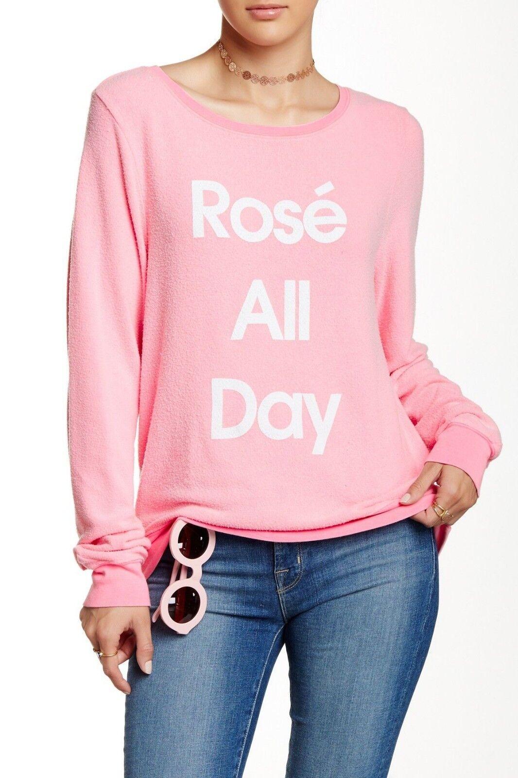 Wildfox rosa All All All Day Maglione, Barbie, rosa, Maglione Largo, Felpa TAGLIA XS 8d3c3c