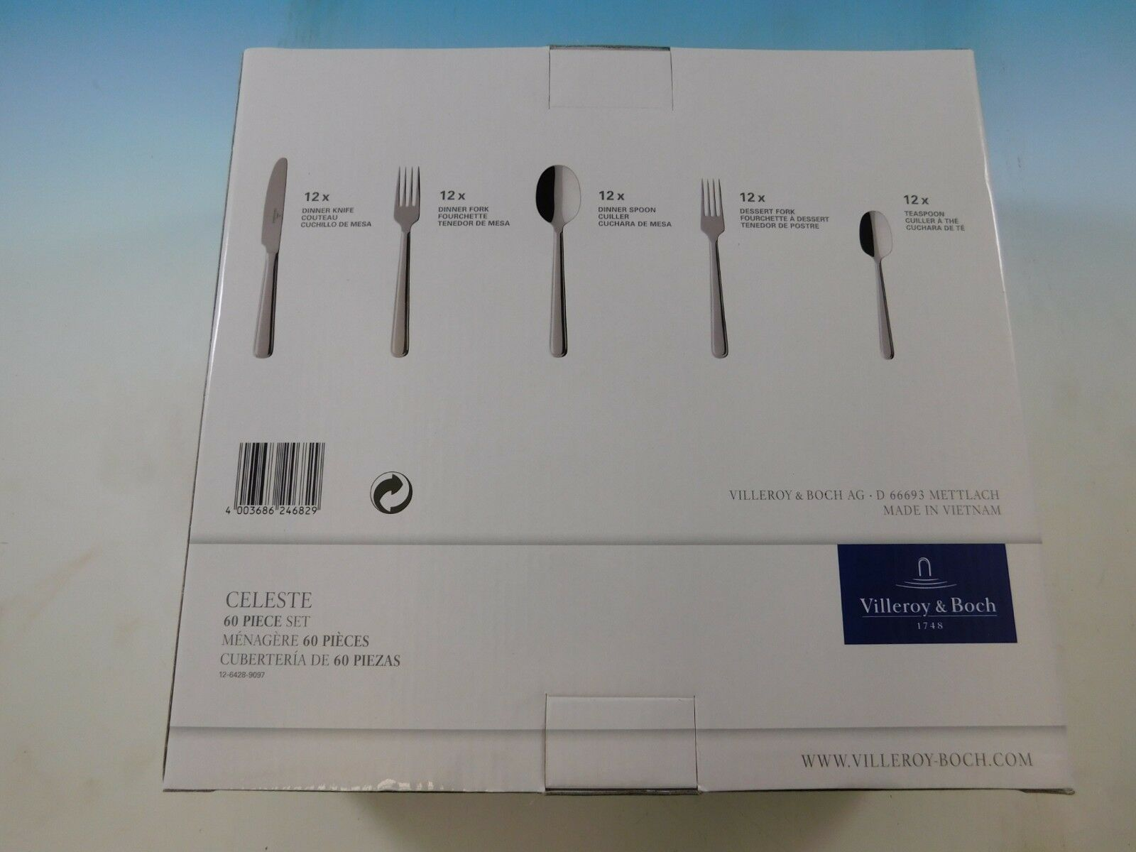 Celeste by Villeroy & Boch Stainless Steel Flatware Set Service Service Service 60 Pieces New 475ccb