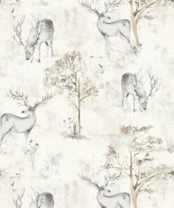 Image is loading Highland-Stag-Cream-Metallic-Shimmer-Wallpaper-Animal -Print-
