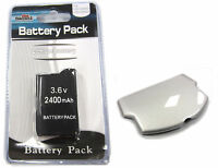 Psp 2000 (slim) Replacement Battery Pack 3.6v 2400mah + Silver Battery Cover Set