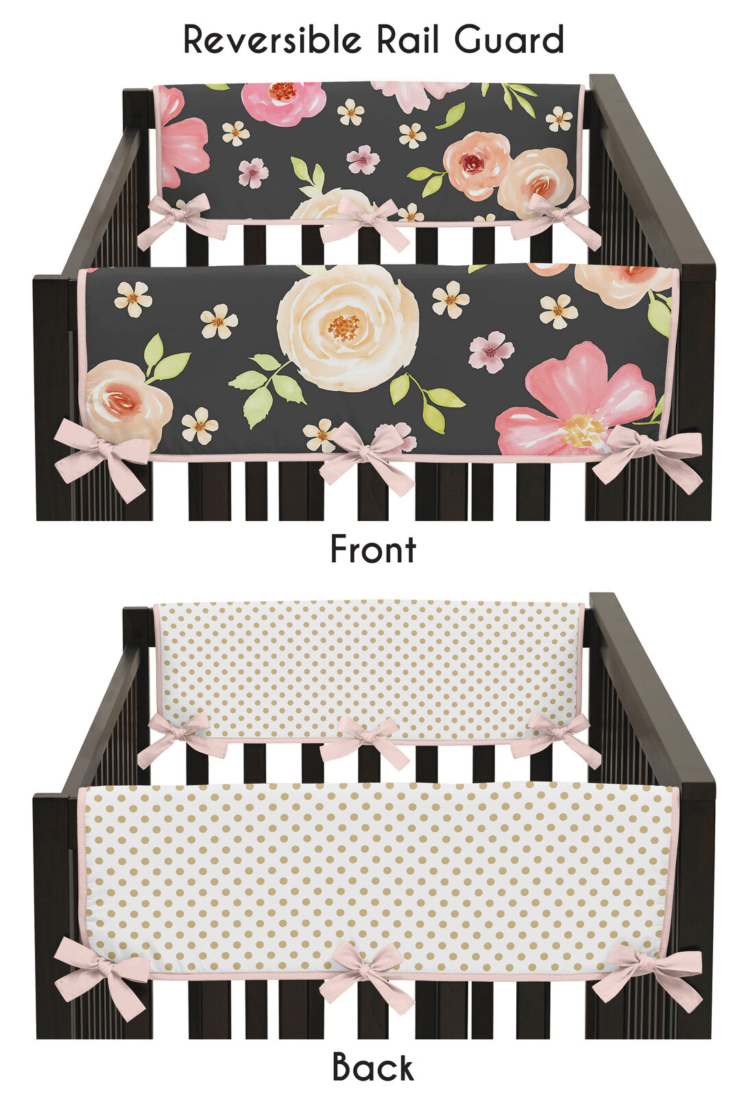 Blush Sweet Jojo Designs Navy Blue and Pink Watercolor Floral Girl Side Crib Rail Guards Baby Teething Cover Protector Wrap Set of 2 Green and White Shabby Chic Rose Flower Polka Dot