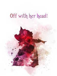 Art Print Queen Of Hearts Quote Illustration Alice In Wonderland