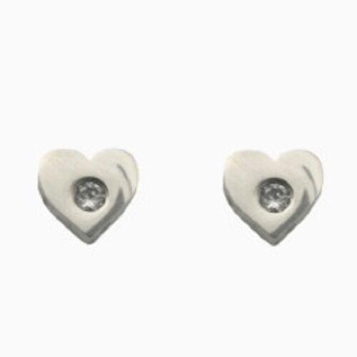 Titan Titanium pendientes aretes de plata señora corazón circonita mate o brillo II
